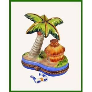 Carribean HUT with Palm Tree and Sunglasses French Limoges Box