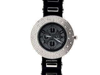 MENS ICED OUT SILVER/BLACK HIP HOP BLING SILICONE WATCH