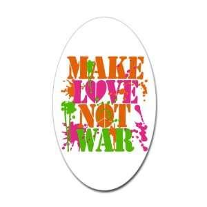 Sticker (Oval) Make Love Not War Peace Symbol Sign