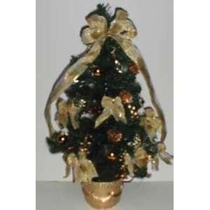 and Lighted Gold Fiberoptic Christmas Tree