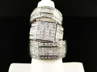 MENS LADIES PRINCESS CUT DIAMOND RING TRIO ENGAGEMENT WEDDING RING SET