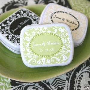 100 Personalized Damask Wedding Favor Box Mint Tins