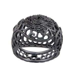 Sterling Silver Gunmetal Color Black Cubic Zirconia Textured Ring
