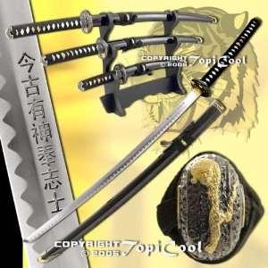 Japanese Black Bushido Tiger Samurai Katana Sword* Set