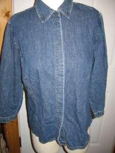 Ann Taylor Jeans Denim Long Sleeve Button Down Shirt L