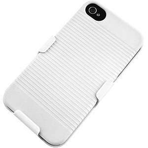 WHITE Slide Case with Belt Clip Swivel Holster Stand for iPhone 4 4G