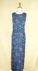 Directives blue floral print sleeveless dress size M