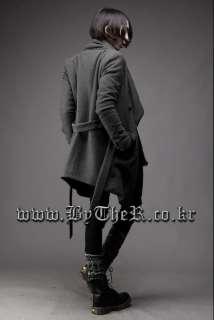 Special Big Collar Diagonal Placket Mens Belt Overcoat