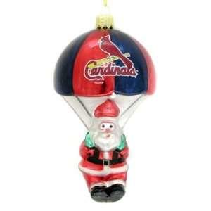 St. Louis Cardinals MLB Parachuting Santa Glass Ornament