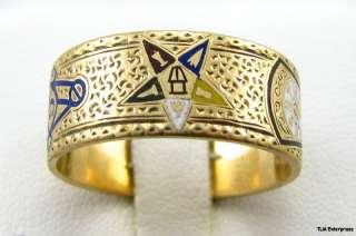 Master Mason EASTERN STAR RAM   10K Gold Band A+ RING