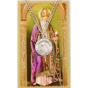 Pewter St. Augustine Medal & 24 Chain, Prayer Card Set. Jewelry