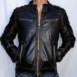 Affliction Black Premium ON ANY SUNDAY Mens Leather Jacket   NEW