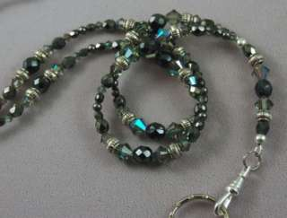 Gray Color Austrian Crystals Lanyard Badge Holder by The Emerald Egret