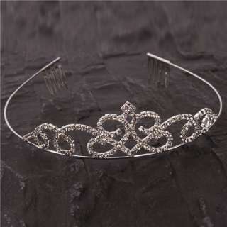 Rhinestones Princess Crown Headband hair Clip Tiara Wedding Bride Pin