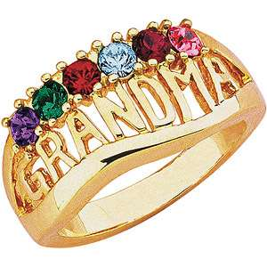 Personalized Grandma Birthstone 14kt Gold Tone Ring Rings