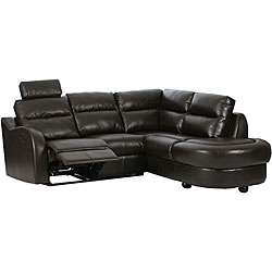 Byron Brown Leather Sectional Sofa with Reclining Seat