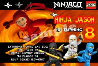 Custom Ninjago Ninja Lego Birthday Party Ticket Invitations