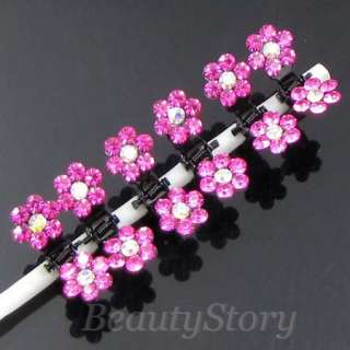 SHIPPING 6 bridal flower rhinestone mini hair claw pin wedding