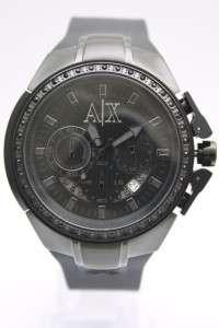 New Armani Exchange Men Chronograph Date Black Rubber Band Crystal
