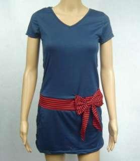 D283 Womens Cute Striped Bow V neck Dress 8 10