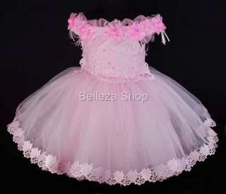 Pink Flower Girls Infant Baby Party Dress SZ 2T 3T DP15