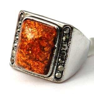 d7219 Size 9 Retro Garve Tibetan Silver Square Gemstone Diamante
