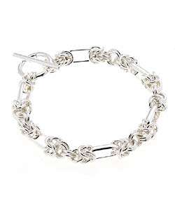 Sterling Silver 7.5 inch Handmade Link Bracelet with Toggle Clasp