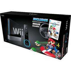 Nintendo Wii Gaming System with Mario Kart and Wheel   Black
