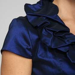 Adrianna Papell Womens Taffeta Pillow Collar Dress