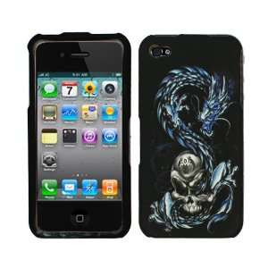 Blue Dragon Silver Skull Rubberized Snap on Design Hard Case Faceplate