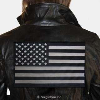 HUGE US FLAG SUBDUED BLACK GRAY PATCH BIKER JACKET VEST