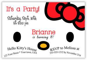 Printed Hello Kitty Birthday Party Invitation/Thank You 4X6 or 5X6