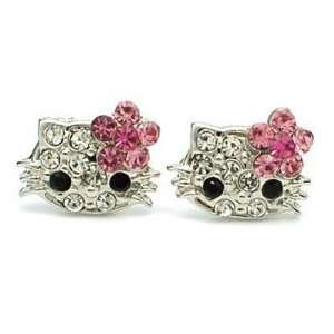 Extra Small Kitty Stud Earrings with Pink Flower Bow Jewelry
