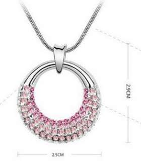 Crystal Circle Platinum Plated Elegant Pendant Necklace