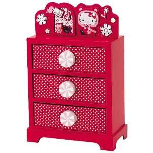 Sanrio Hello Kitty Xmas 3 drawer Storage Wood Japan Toys