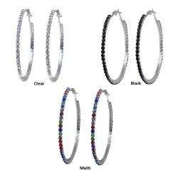 Silvertone Extra Large Crystal 48 mm Hoop Earrings