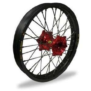 Pro Wheel MX Rear Wheel Set   19x1.85   Black Rim/Red Hub 24 47072 HUB