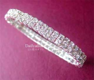 2ROW CLEAR AUSTRIAN CRYSTAL WEDDING BRIDAL BRACELET BR2