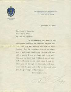 CALVIN COOLIDGE   TYPED LETTER SIGNED 12/22/1920