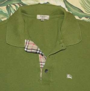 Mens Green BURBERRY LONDON Slim Fit Polo Shirt Small S