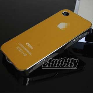 Plating Brushed Metal Hard Case Back Cover iPhone 4 4G 4S Gold