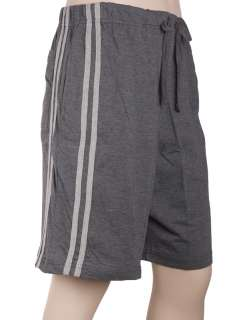 COTTON jerset knit casual striped shorts,light and dark gray