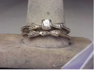 Large Vintage 14K White Gold Diamond Engagement Ring Set