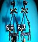 Betsey Johnson Kitty Cat Charm Dangle Earrings NWT