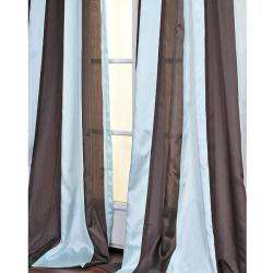 Blue and Coffee Striped 108 inch Sheer Curtain Panel  Overstock