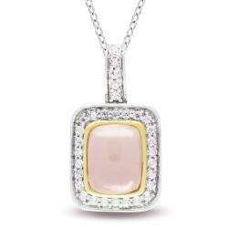 Sterling Silver Pink Quartz and Clear Cubic Zirconia Fashion Necklace