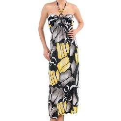Stanzino Womens Yellow and Grey Long Flower Dress  Overstock