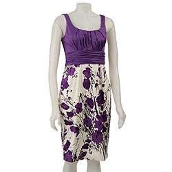 Jones New York Womens Purple Floral Dress
