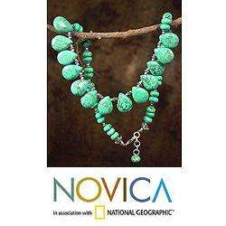 Sterling Silver Fortunes Friend Dyed Magnesite Necklace (India
