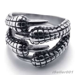 Silver Stainless Steel Talon Mens Ring US Size 7,8,9,10,11,12,13,14